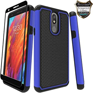 LG Prime 2/Aristo 4 Plus/Escape Plus/Arena 2/Tribute Royal/Journey LTE/K30 2019/X320 Case with [Tempered Glass Screen Protector] Nuomaofly Rugged Heavy Duty Shock-Absorption Protection (Blue)