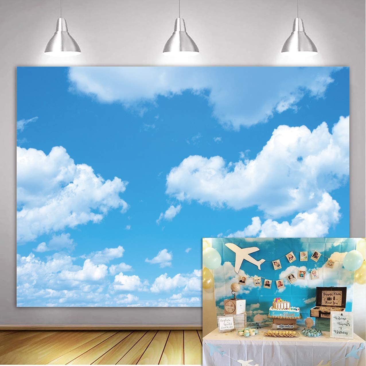 GYA 9x6ft Blue Sky White Clouds Theme Photography Backdrop Sunshine Sky Clouds Photo Background Booth Wedding Party Decoration Background Studio Props Vinyl