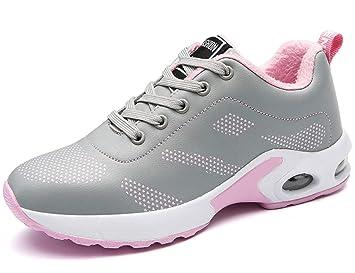 GNEDIAE Mujer Invierno Ligero vellosidades Zapatillas Deporte Gimnasio Caminar Más Terciopelo Zapatillas Deportivas Zapatos Planos con Cordones Mujer ...