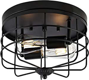 WINGBO Industrial Close to Ceiling Light Fixture, Farmhouse Style Flush Mount Lighting, for Hallway Dining Room Kitchen