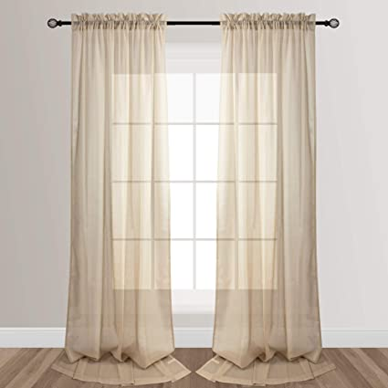 voilybird beige 96 inches long sheer curtains for living room rod pocket rainy style 52 inch by 96 inch 2 panels