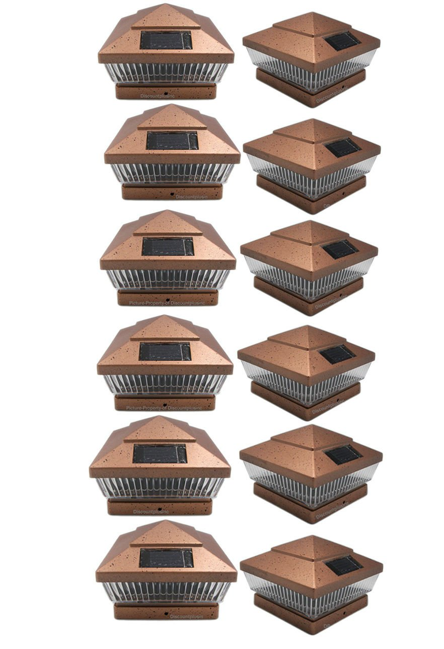 12 Pack 6x6 Outdoor Garden Solar LED Copper (Color) Post Cap Fence Pathway Landscape Deck Square Light Lights (For 6x6 Wood Post With 5 1/2'' Actual Dimensions)