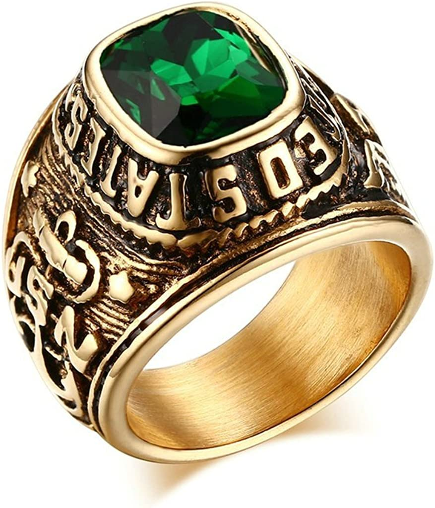 Tianyi Vintage 316l Stainless Steel United Stated Navy Gold Plating With Green Cubic Zirconia