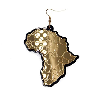 RXBC2011 Africa Map Drop Earrings Acrylic j7DYPcr