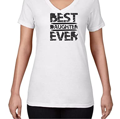 AW Fashions Best Daughter Ever - Best Daughter Ever Womens V-Neck Shirt (Small