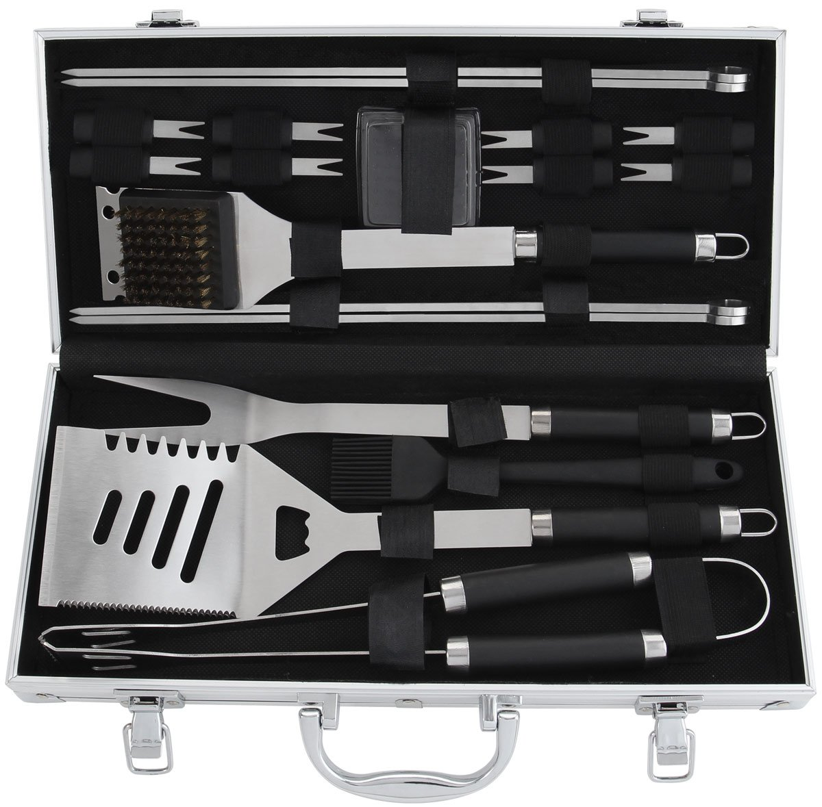 POLIGO 19-Piece BBQ Grill Tools Set - Heavy Duty Stainless Steel Barbecue Grilling Utensils Kit Set With Aluminum Case - Premium Grilling Accessories for Barbecue - Birthday Gift for Men