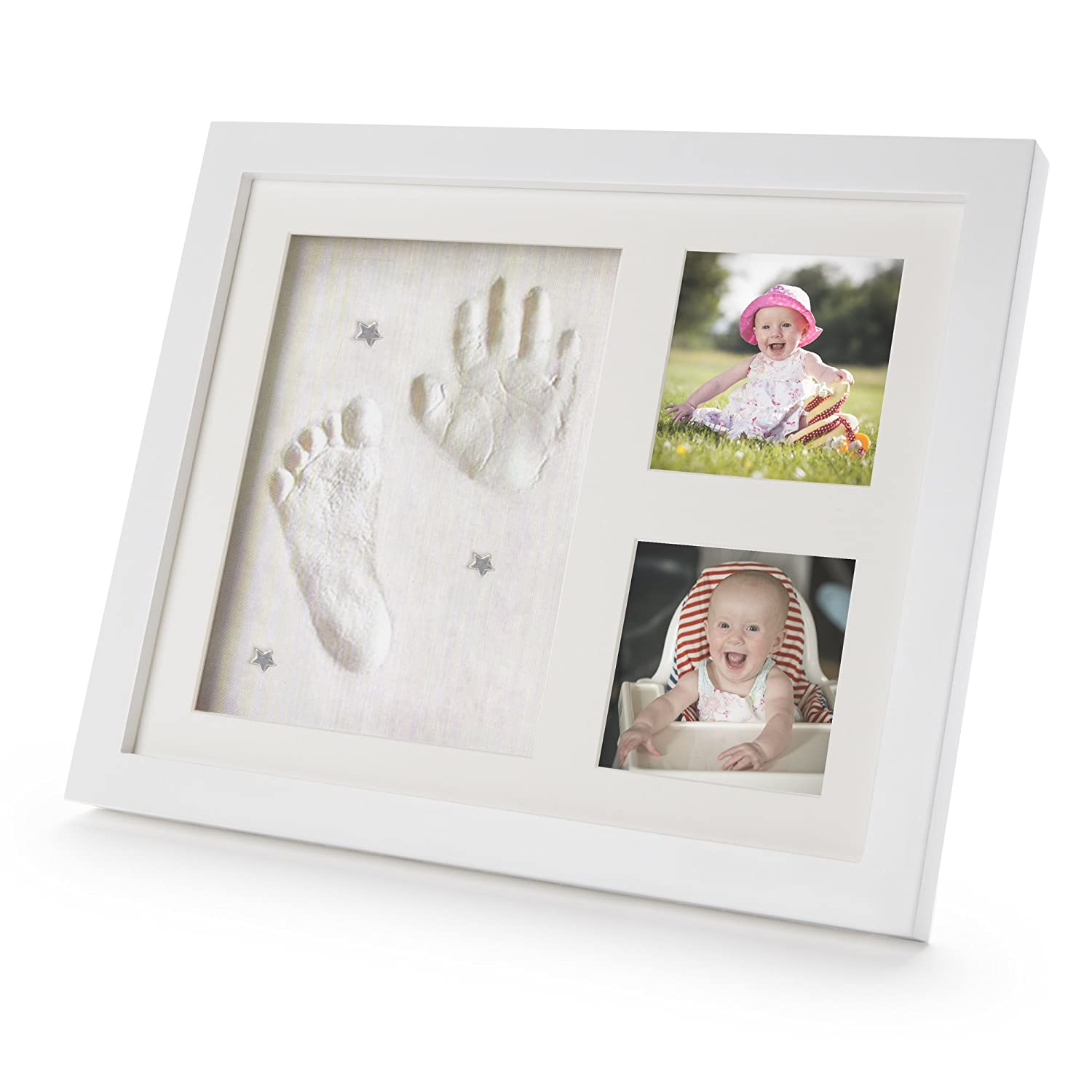 Baby Hand and Footprint Kit - Picture & Photo Frame Gift Set for Boys & Girls 100% Safe. 3 Large Premium Ready Made Clay Bags with FREE Charms & Birth Record for Keepsake Registry Christening Newborns Baby Shower & Birthdays. A Beautiful H