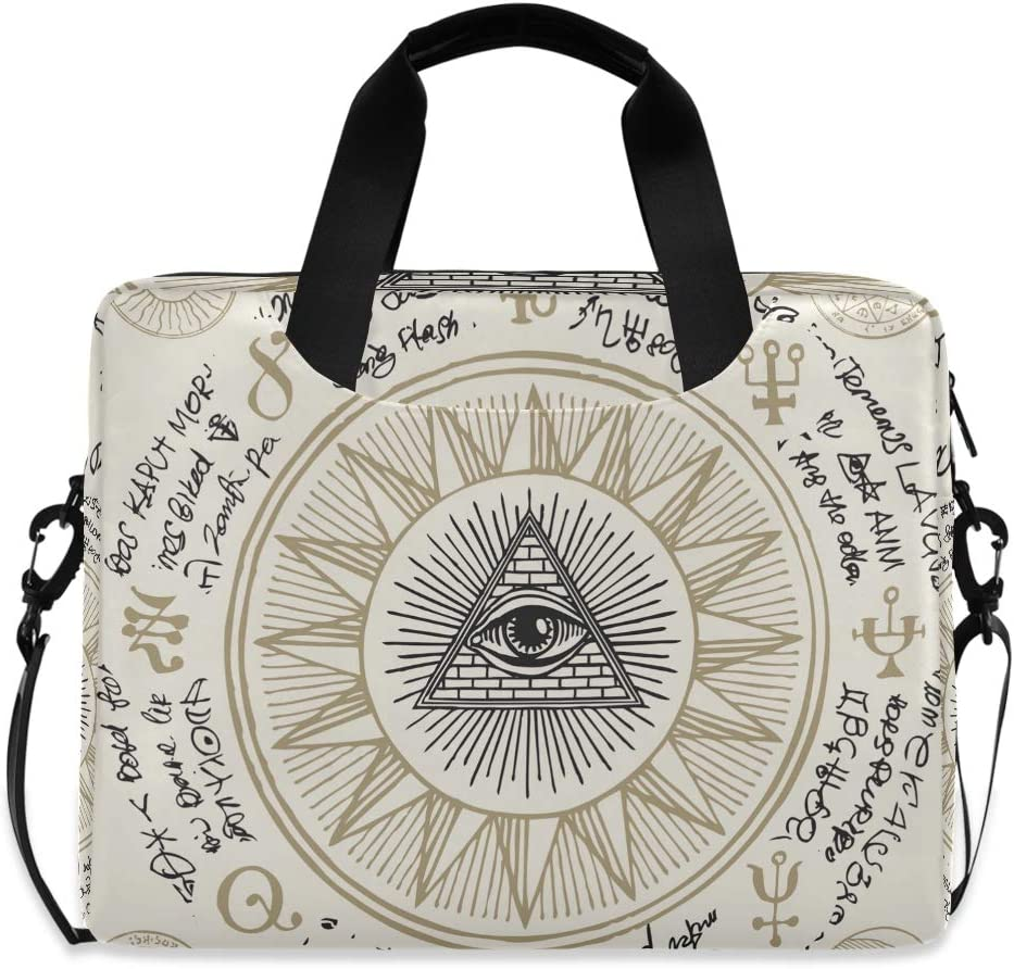 Cute Laptop Cases 15.6 for Women Laptop Shoulder Bag Carrying Briefcase Handbag Sleeve Case All-Seeing Eye of God Inside Triangle Pyramid 0323003