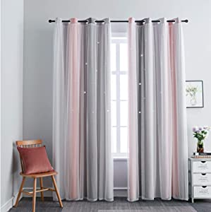 FANLI Star Curtains 2 Panels for Kid Girls Bedroom Living Room Darking Rainbow Ombre Stripe Double Layer Star Cut Out Wall Home Decor Gradient Grommet Window Curtains (Pink / Grey, 52W x 63L)