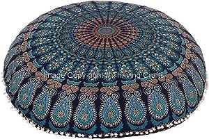 THRIVING Peacock Manadala Cotton Handmade Floor Cushion Cover Round Pillow Cover Decorative Mandala Pillow Sham Bohemian Ottoman Poufs Case Outdoor Cushion Cover Pet Dog Bed Kitchen Pouf