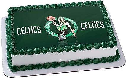 Wondrous Amazon Com Boston Celtics Edible Cake Image Cake Topper Icing Funny Birthday Cards Online Inifodamsfinfo