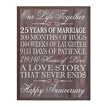 25th Wedding Anniversary Ideas.Lifesong Milestones 25th Wedding Anniversary Wall Plaque Gifts For Couple 25th For Her 25th Wedding Silver Ideas For Him 12 Wx 15 H Wall Plaque