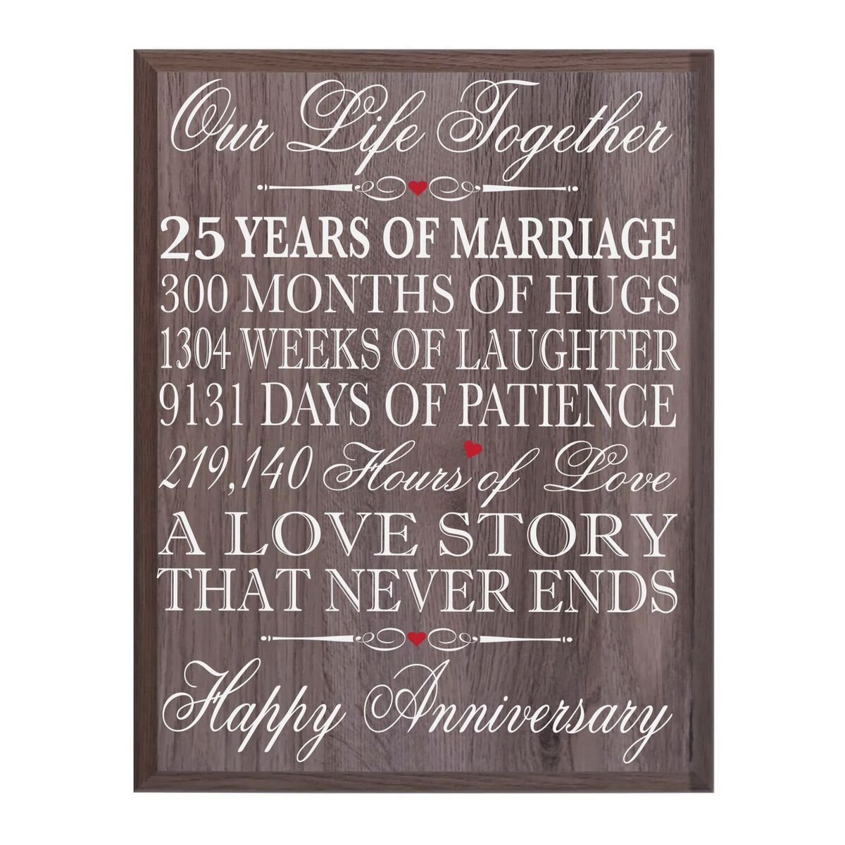 LifeSong Milestones 25th Wedding Anniversary Wall Plaque Gifts for Couple, 25th for Her,25th Wedding Silver Ideas for Him 12'' W X 15'' H Wall Plaque (Salt Oak)
