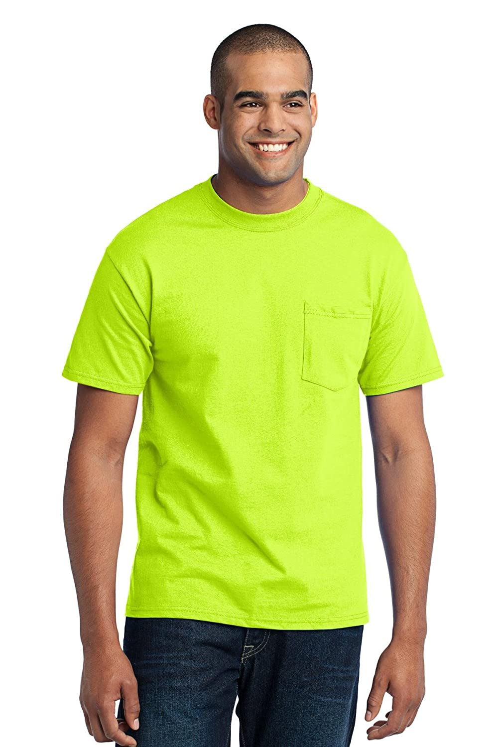 Port & Company 50/50 Cotton/Poly T-Shirt with Pocket. PC55P Safety Green