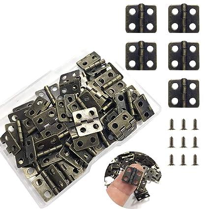 50 Pezzi Mini Cardine dellArmadio Cerniere Connettori con 200 Pezzi 5 mm Mini Ottone Viti di Ricambio di Cardine