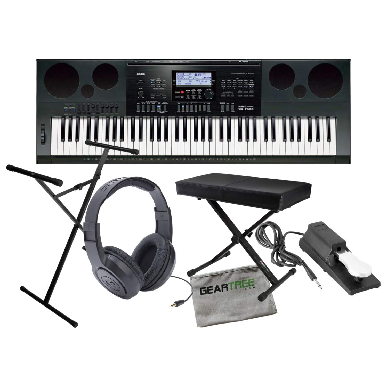 Casio WK7600 Workstation Keyboard w/ Bench, Stand, Sustain Pedal, and Headphones by Casio