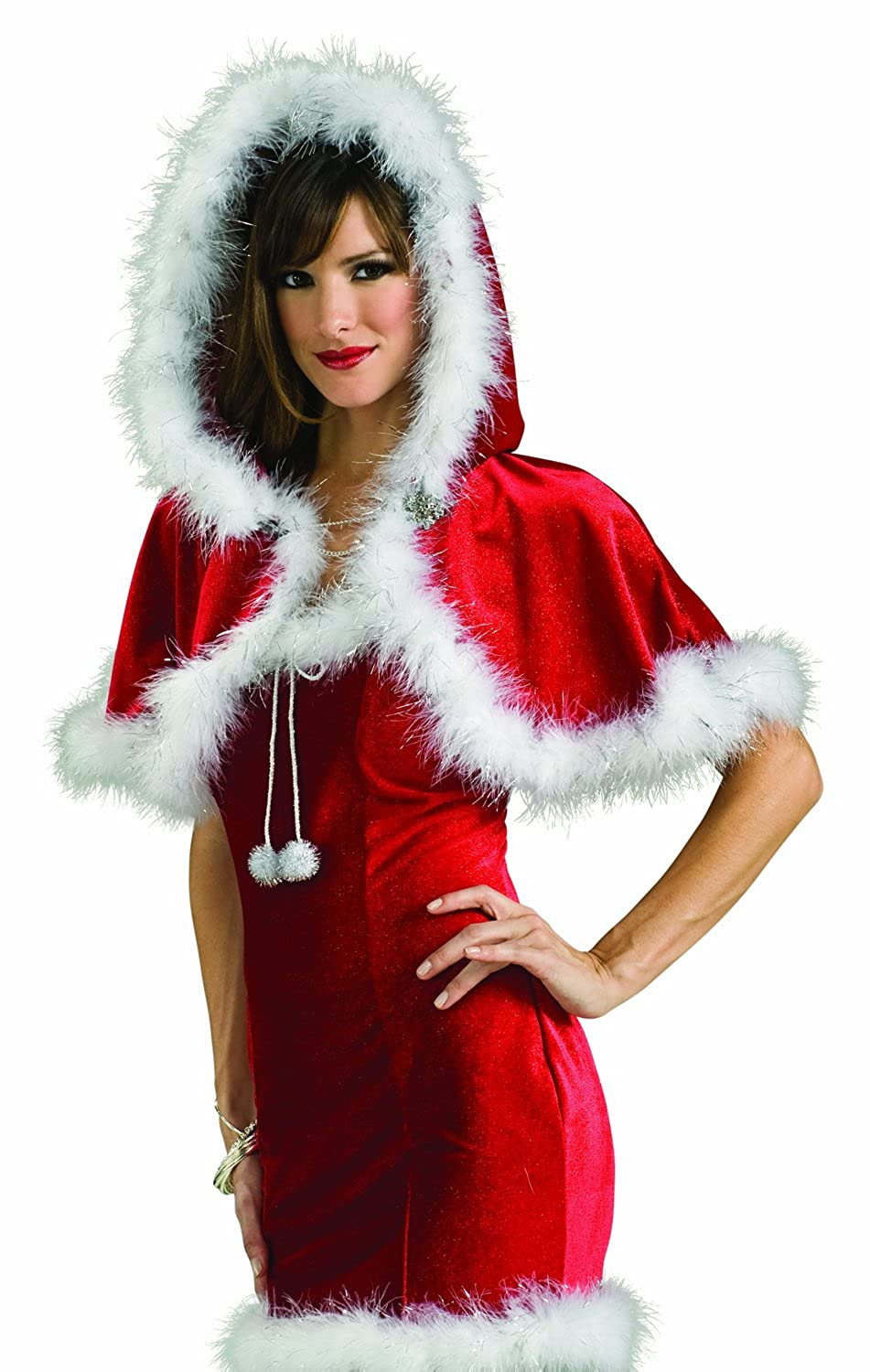 9fc429597b39 Red polyester velour capelette with hood. White marabou trim. One size fits  most teens and adults. Fun and flirty addition to your winter costume  wardrobe