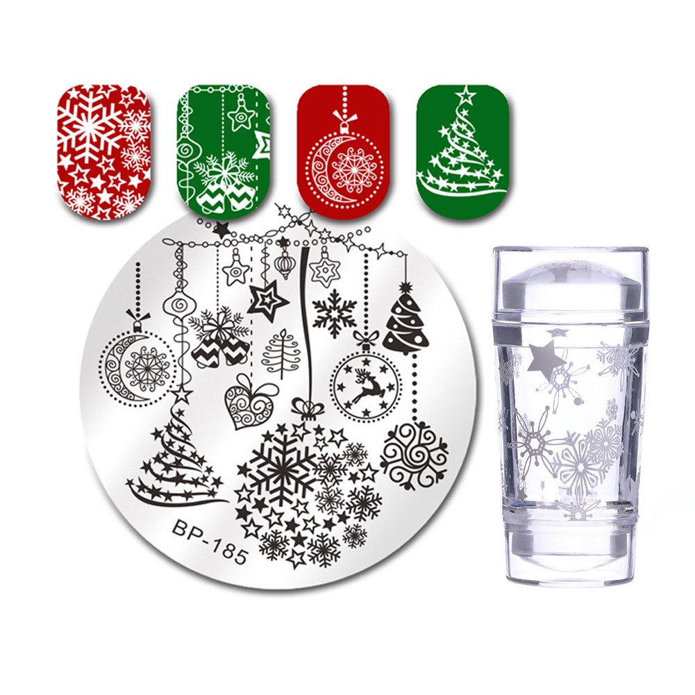 Born Pretty Nail Art Chirstmas Stamping Set-1Pc Round Xmas Theme Plate with 1Pc Stamper and Scraper