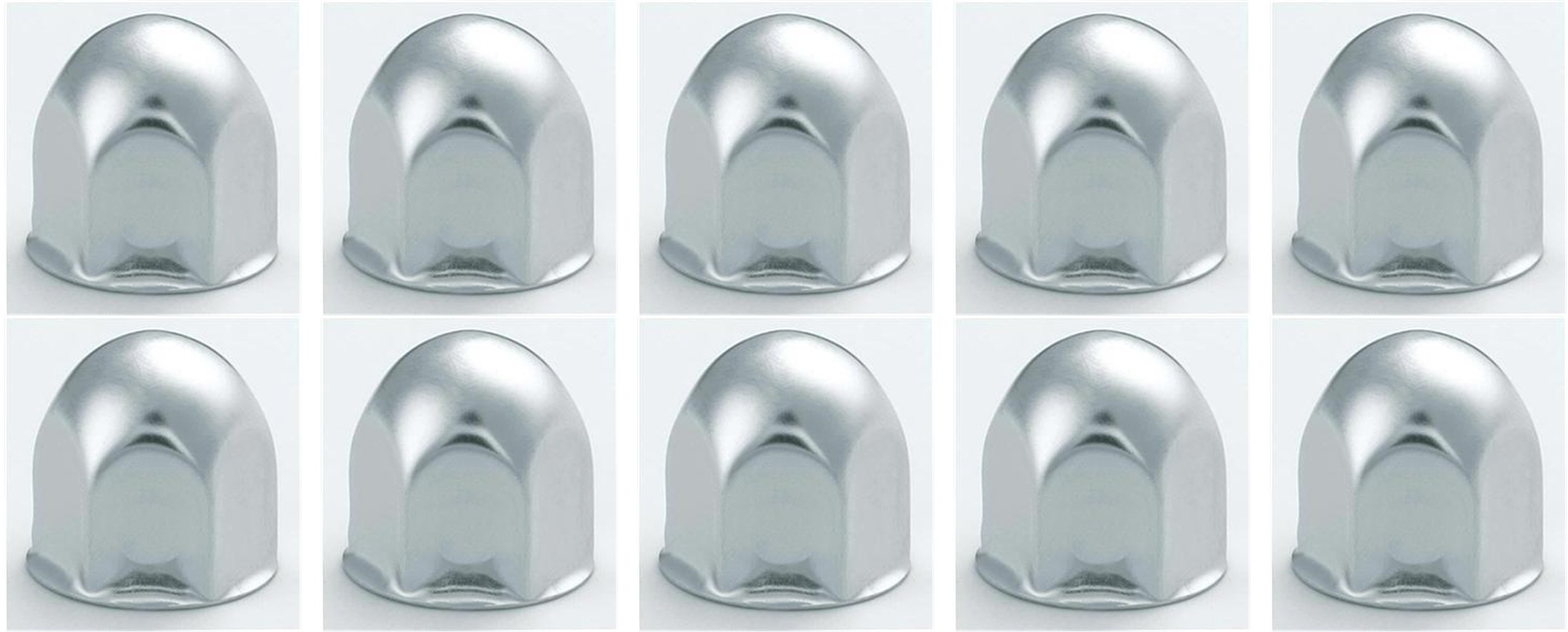 10 Stainless Steel Rounded Lug Nut Covers for 1'' Lug Nuts
