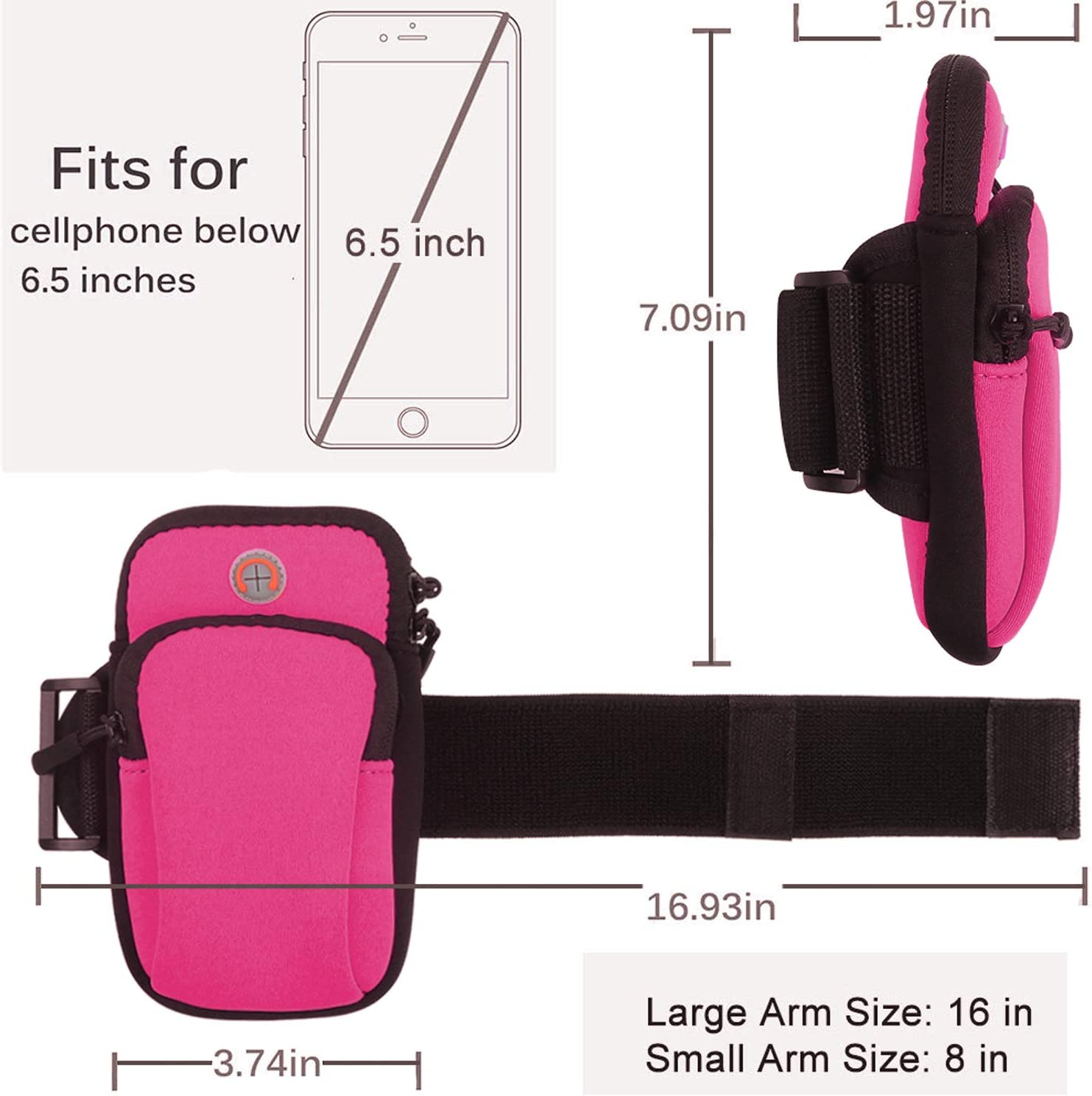 Vetoo Running Phone Armband Skin-Friendly Sweat-proof Multifunctional Outdoor Sports Gym Armband for Mobile phone up to 6.2 with Headphone Slot and Double Pockets