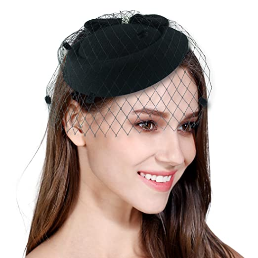 Fascinator Feather Fascinators for Women Pillbox Hat for Wedding Party  Derby Royal Banquet Black 8284e852e313