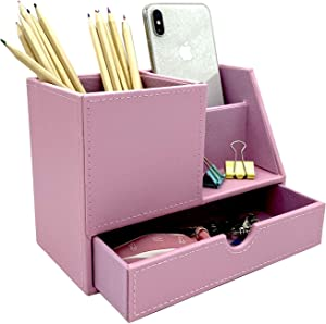 UnionBasic PU Leather 4 Compartment Desk Organizer Card/Pen/Pencil/Mobile Phone Office Supplies Holder Collection Desktop Organizer (NEW Pink (L))