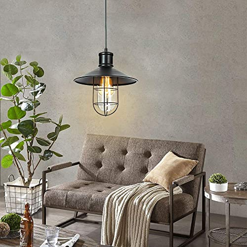 T A 1-Light Cage Pendant Lighting Industrial Edison Black Barn Ceiling Hanging Lamp for Kitchen Dinging Room Bed Room
