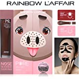 L'Affair Rainbow Blackhead Remover Strips: 3-in-1 Kit for Removing Nose Blackheads & Deep Cleaning Pores - 10 Pore Heating Strips, 30 ml Charcoal Peel Off Face Mask & 10 Moisturizing Essence Sheets