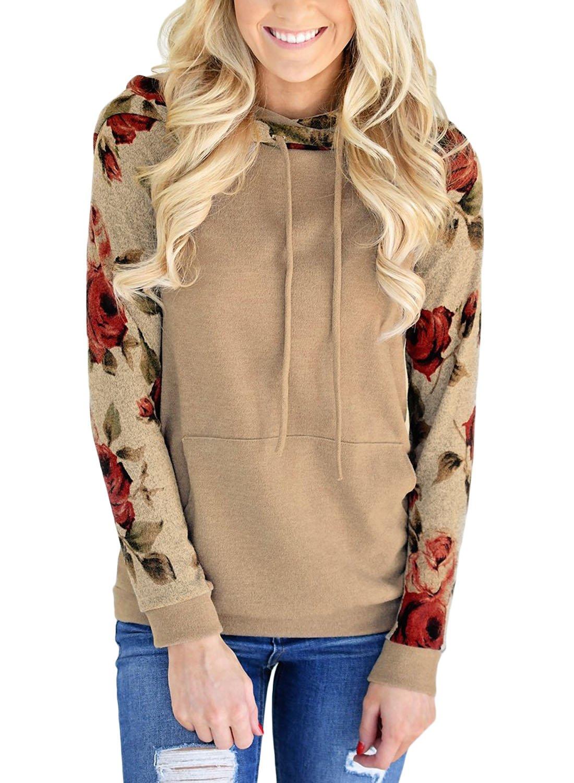 HOTAPEI Women Floral Printed Long Sleeve Lightweight Pullover Hoodies Hooded Sweatshirt Casual Tops Raglan Shirts with Kangroo Pockets Khaki Medium