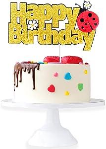 Marvelous Ladybug Happy Birthaday Cake Topper - Celebrate Baby Shower Little Ladybug Spring Daisy Cake Décor - Ladybug Party Decorations For 1st Birthday girl