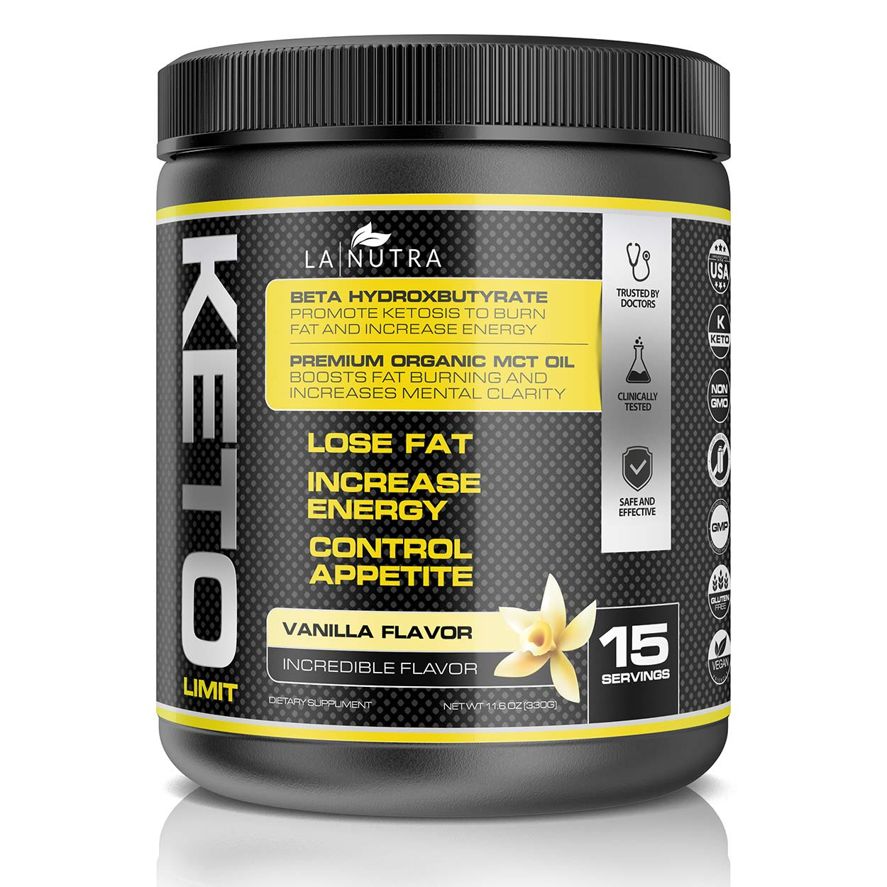 Keto Limit Vanilla Ketogenic Diet Supplement〡BHB Exogenous Ketones and MCT Oil Keto Powder to Burn Fat, Promote Mental Focus and Natural Energy. Achieve Ketosis w/Our Non-GMO Keto Supplement by Keto Limit