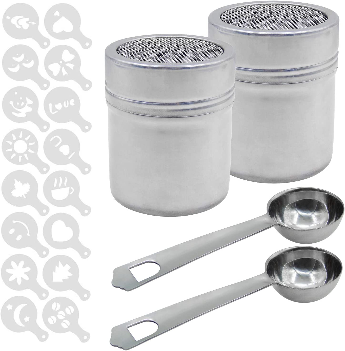 2 Packs Stainless Steel Powder Shakers Mesh Shaker Powder Cans with 2 Packs Coffee Measuring Spoons and 16 Pieces Printing Molds Stencils