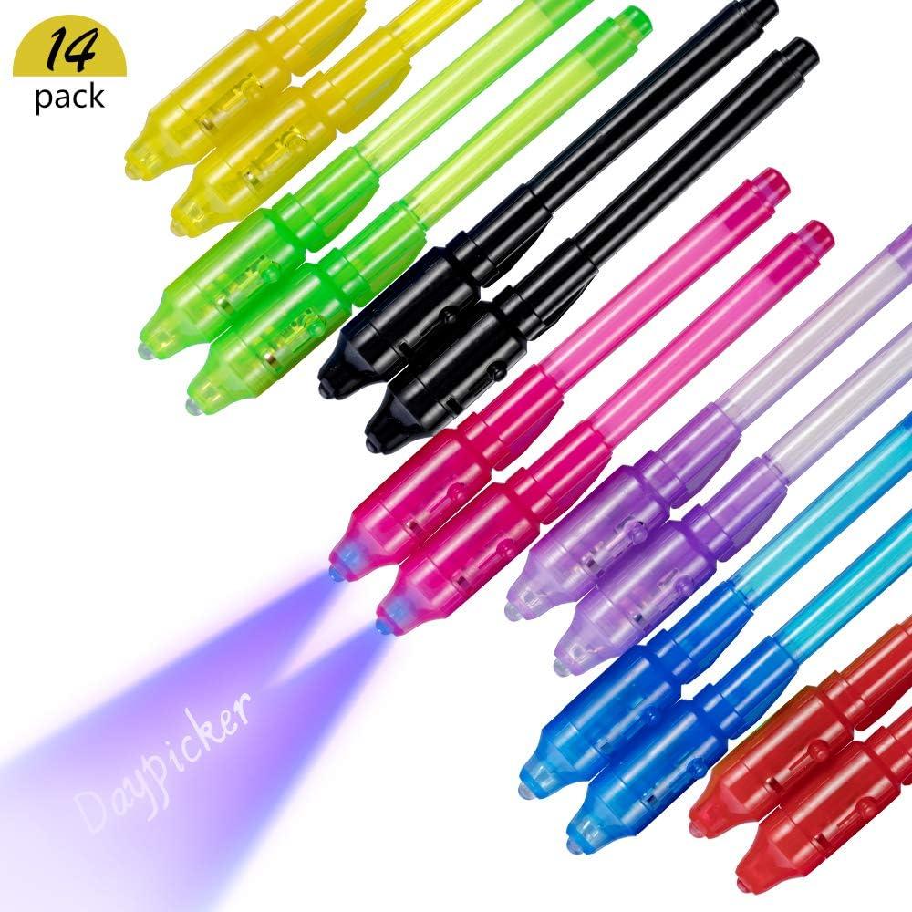 DAYPICKER 14 Paquetes Bolígrafo de Tinta Invisible, lápiz espía con rotulador mágico de luz UV para Mensajes Secretos y Fiestas Magic Marker para Dibujar una Actividad Divertida