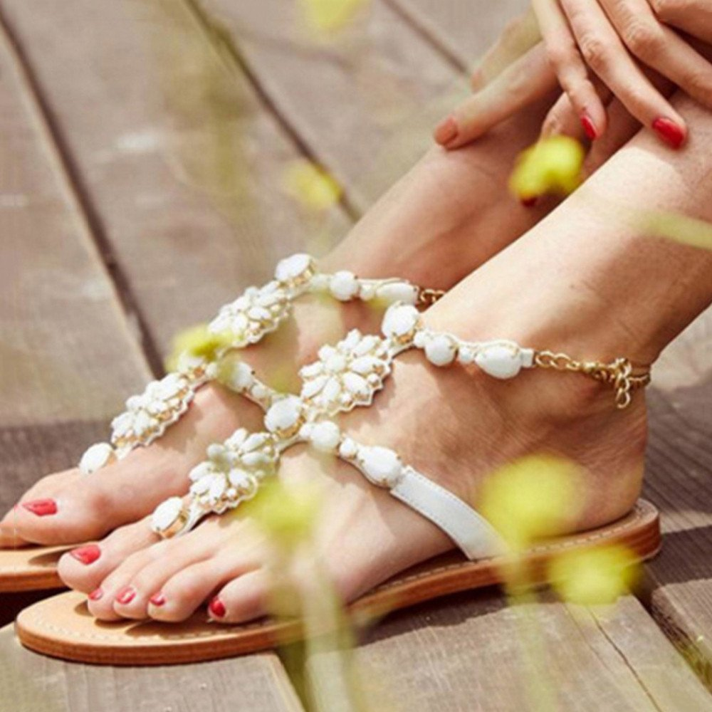 Angel love beauty Frauen Sommer Sommer Sommer Bohemian Strass Slip on Flip Flops Flachen Sandalen (37-47) (Farbe : Apricot Farbe, Größe : 40 2/3 EU) Weiß adeda1