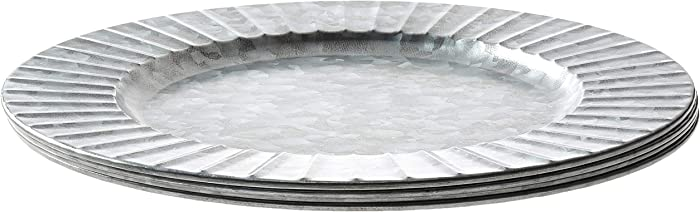 """Circleware Set of 4-13"""" Steel Silver Charger Plates, Classic Round All Occasion Entertainment Dinnerware Dishes, Limited Edition Home Food Service Decor, 4-pack, Galvanized-Ribbed"""