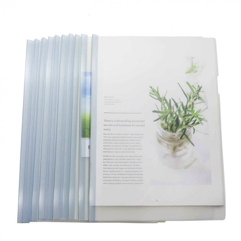 Buorsa 10 PCS Transparent Plastic Report Covers Folder Sliding Bar Files For A4 Size Paper