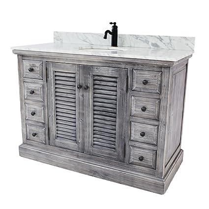 48 Rustic Solid Fir Sink Vanity In Grey With Carrara White