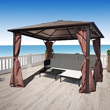 BLXCOMUS Carpa con cortina marrón de aluminio 10 x 10 gazebo tejado Material: