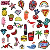 Iron On Patches 32 Pcs - Embroidered Patches Appliqué Motif Applique Kit Assorted Size Decoration Sew On Patches for Jackets, Backpacks, Jeans, Clothes