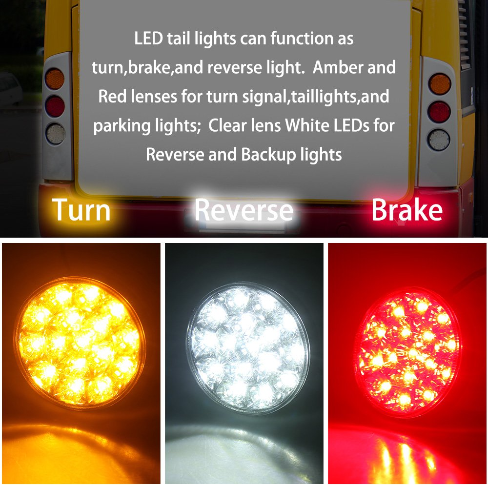 Waterproof DC12-24V 44-LED Tail Light Bar for Turn//Signal//Running Lamps Fits any Truck//RV//Camper//Trailer etc 2 PCS LED Truck//Trailer Tail Lights with Iron Bracket Base TOPPOWER Round LED Trailer Lights with bracket