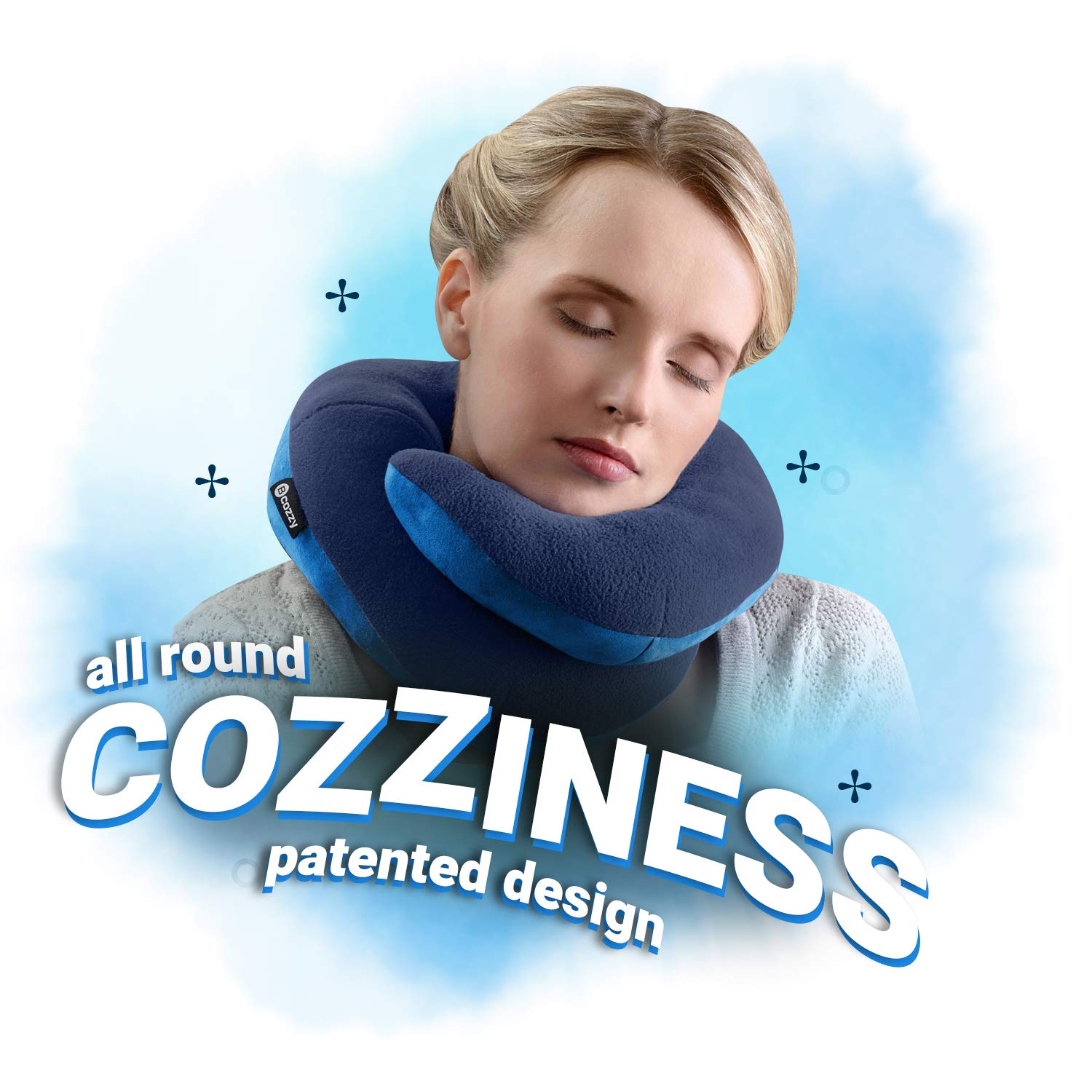 Black Neck and Chin in Any Sitting Position BCOZZY BNP-LBLKFL Travel Pillow-Stops Falling Forward-Comfortably Supports The Head Adult Size A Patented Product