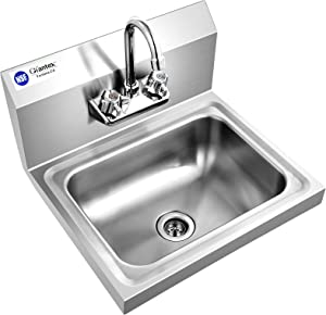 Giantex Stainless Steel Hand Washing Sink, NSF Certified Commercial Sink with Faucet, Strainer, Back Splash, Commercial Wall Mount Hand Basin for Restraunt, Bar, Store, 17