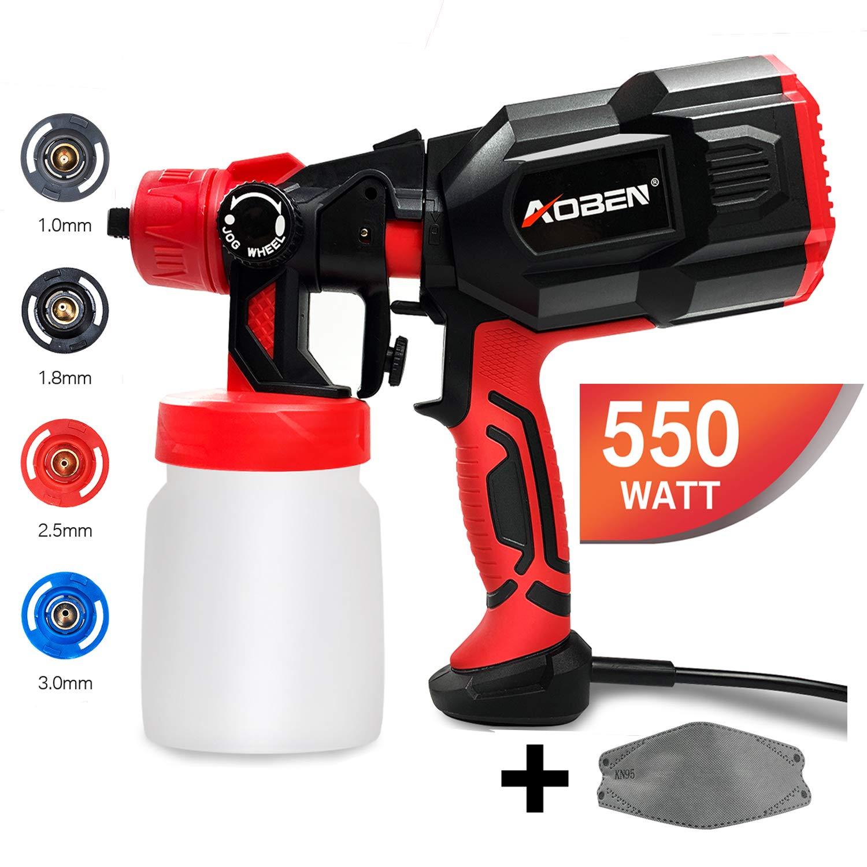 AOBEN Paint Sprayer, 550 Watt High Power HVLP Spray Gun, with 3 Spray Patterns, 4 Nozzle Sizes, Adjustable Valve Knob, Easy-to-Use Electric Paint Gun for Home by AOBEN