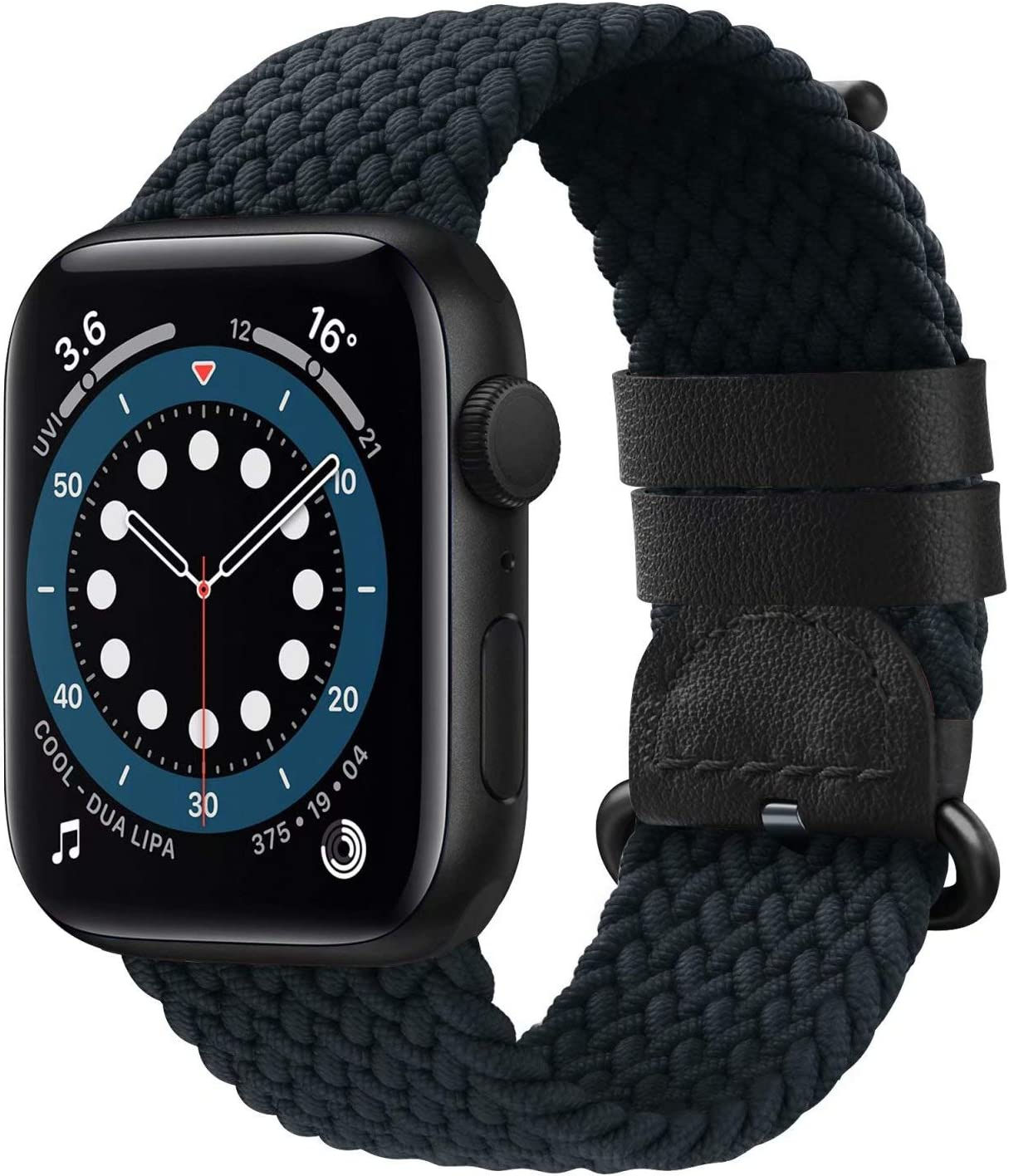 UHKZ Braided Nylon Solo Loop Compatible with Apple Watch Bands 38mm 40mm 42mm 44mm, Adjustable Elastic Sport Strap Women Men with Buckle Replacement Wristband for iWatch Series SE/6/5/4/3/2/1