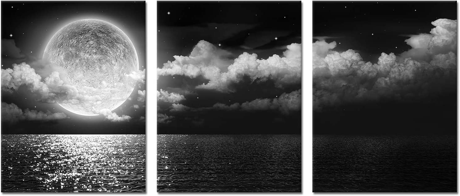 Kalormore Black and White Moon Seascape Canvas Wall Art Decor 3 Pieces Sea Nature Giclee Prints Framed and Stretched Artwork for Modern Living Room Bedrooom Bathroom Decoration