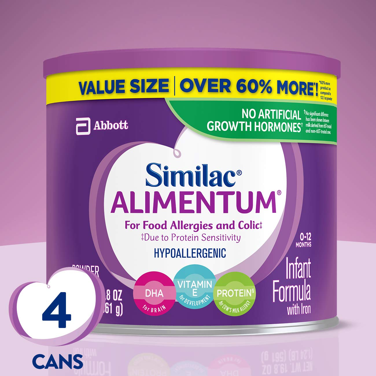 Similac Alimentum Hypoallergenic for Food Allergies and Colic Infant Formula Powder, 19.8 Oz (Pack of 4)