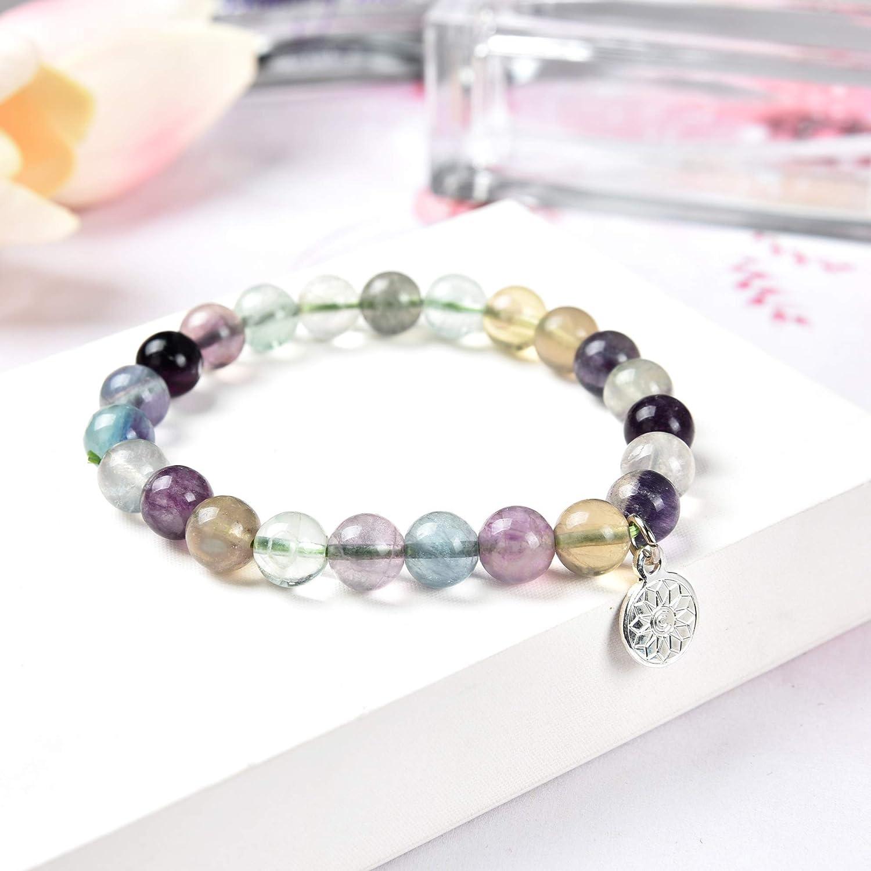 Crystal Agate Multi Fluorite Bracelet Semi Precious Chakra Gemstone Loose Beads Crystal Round Healing Stretchy Jewelry for Women Girls Unisex