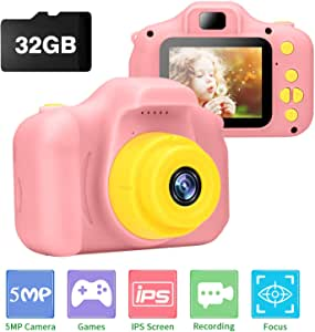 Kids Camera, Ufinetec Digital Photo & Video Toy Camera Gift for Boys and Girls Aged 4-12 Years Old, 2.0inch IPS HD Screen Shock-Proof Mini Toddler Camcorder with 32GB SD Card Included (Pink)