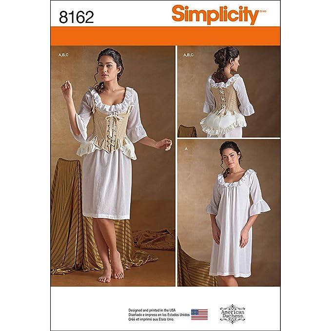 Simplicity Pattern 8162 Misses Siglo XVIII Patrones de Costura ...