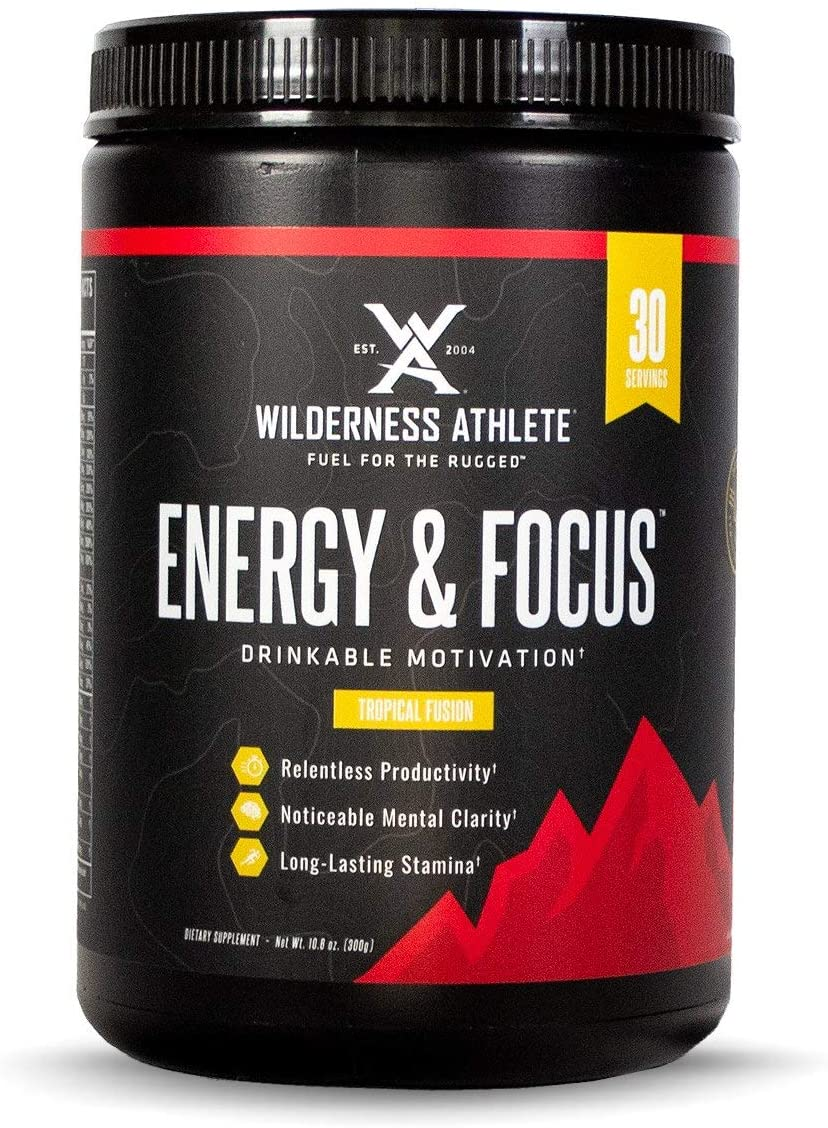 Wilderness Athlete Energy Focus, Powder Energy Drink Mix, Tropical Fusion, 30 Serving Tub, Low-Carb, Zero Sugar, No Crash, Natural Caffeine from Green Coffee Bean
